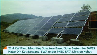 21.4 KW Fixed Mounting Structure Solar System for DWSS Hazar Din Kot Barwand, SWA