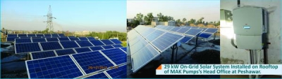 29 KW On-Grid Solar System installed on roof top of Mak Pumps Head Office